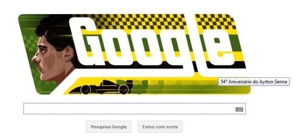Ayrton Senna da Silva, que faria 54 anos, é homenageado em Doodle (Foto: Reprodução/Google)