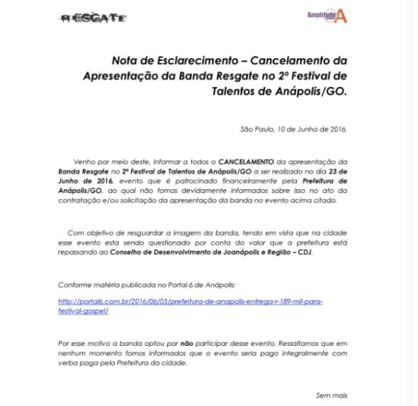 Banda Resgate cancela show em Anápolis após saber que seria paga com dinheiro da Prefeitura - Portal 6 Google Chrome, Hoje at 05.16.13